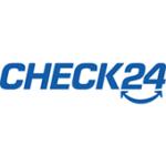 Als Logo der Referenzen bei CHECK24, ist ein einfarbiges Logo zu sehen.