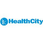 Als Logo der Referenzen bei HealthCity, ist ein dreifarbiges Logo zu sehen.