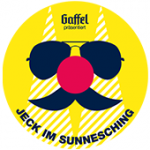 Als Logo der Referenzen bei Jeck im Sunnesching, ist ein dreifarbiges Logo mit einem Gesicht und einer Sonnenbrille zu sehen.