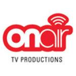 Als Logo der Referenzen bei ON AIR TV PRODUCTIONS, ist ein einfarbiges Logo in der Farbe Rot zu sehen.
