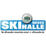 Als Logo der Referenzen bei Skihalle Neuss, ist ein dreifarbiges Logo zu sehen.